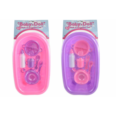 Bath and Accessory Set Pink - 8 Pieces (£7.99)