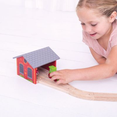 Image 2 of Double Engine Shed - Bigjigs Toys  (£12.99)