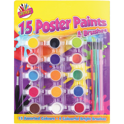 15 Poster Paints and Brushes (£2.25)